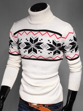 High Collar Snow Printed Jacquard Weave Mens Sweater