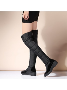 Pu Patchwork Back Zip Thigh High Boots