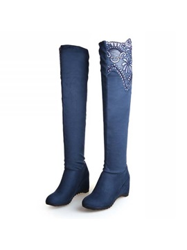Lace Patchwork Wedge Heel Over Knee Boots