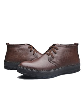 Round Toe Pu Lace Up Mens Casual Shoes