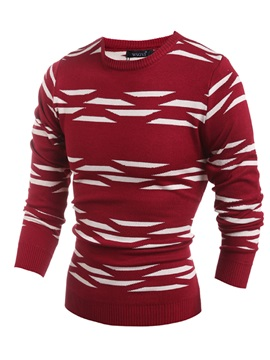 Mens Color Block Jacquard Round Neck Pullover Sweater