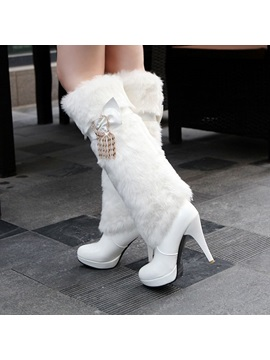 Rhinestone Faux Fur Platform Knee High Boots