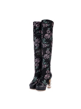 Floral Printed Chunky Heel Thigh High Boots