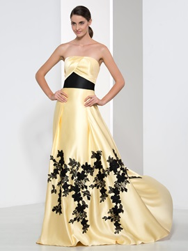 Elegant Strapless Appliques A Line Long Evening Dress
