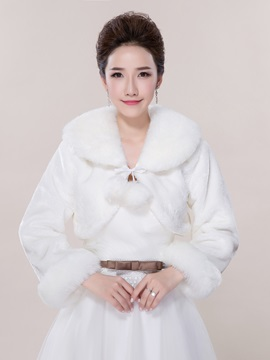 White Long Sleeve Faux Fur Wedding Jacket