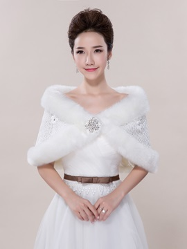 White Winter Wedding Fur Shawl