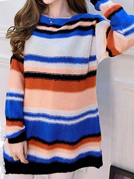 Stylish Color Stripe Loose Sweater