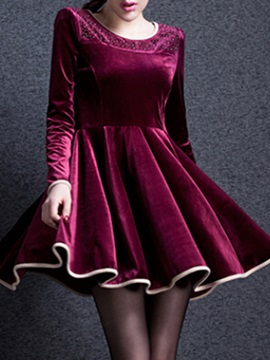 Contrast Color Round Neck Skater Dress