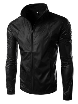 Waterproof Sunscreen Plain Zip Stand Collar Mens Jacket