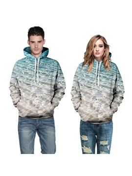 Delicate Beach Printed Couple Hoodies Price For A Pair