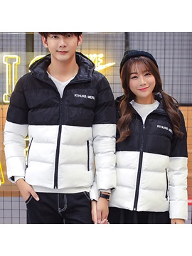 Stylish Color Block Thickening Couple Outfits Price For A Pair