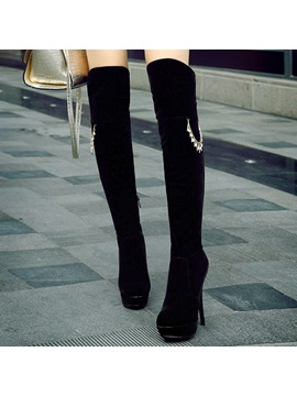 Black Suede Stiletto Heel Thigh High Boots