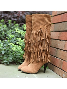 Tassels Pu Knee High Boots