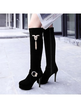 Black Buckles Side Zip Knee High Boots
