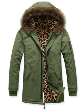 Leopard Printed Lined Faux Fur Collar Zip Mens Coat