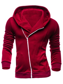 Oblique Zipper Solid Color Mens Hoodie With Hat