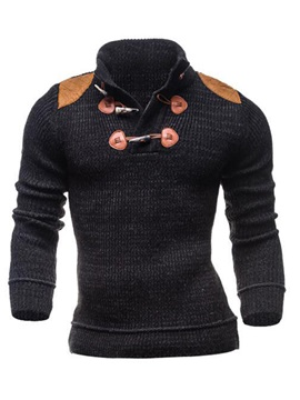 Horm Button Decorated Stand Collar Mens Pullover Sweater