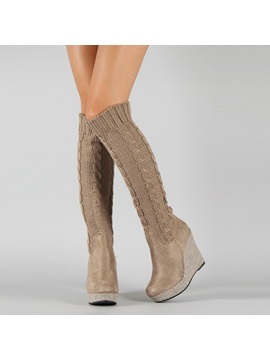 Crochet Patchwork Knee High Wedge Boots