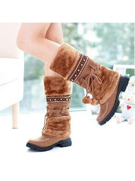 Beading Faux Fur Slip On Snow Boots