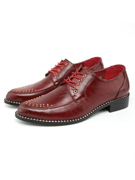 Studded Round Toe Lace Up Mens Dress Shoes