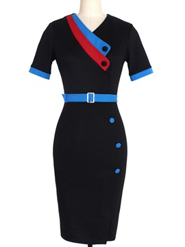 Chic Short Sleeve Belt Day Dress