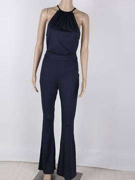 Elegant Plain Sleeveless Halterneck Jumpsuit