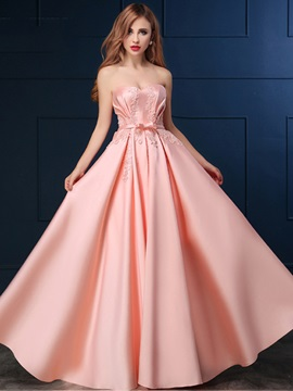 Pretty Sweetheart Appliques Bowknot Long Prom Dress