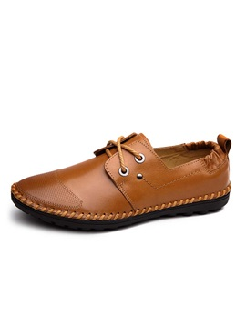 Breathable Pu Lace Up Mens Casual Shoes
