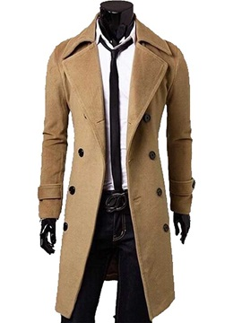 Solid Color Mens Single Breasted Topcoat