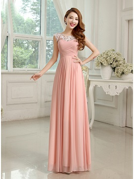 Charming Lace Scoop Neck Pleated Chiffon Long Bridesmaid Dress