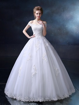 Floor Length Ball Gown Wedding Dresses Sequin Beaded Off The Shoulder Wedding Gown