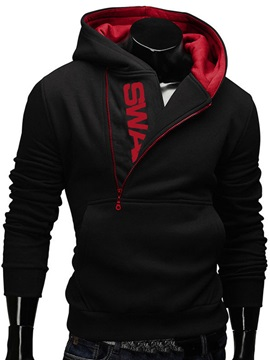 Letters Printed Zip Decorated Color Block Mens Hoodie