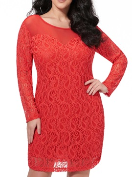 Solid Color Slim Lace Dress