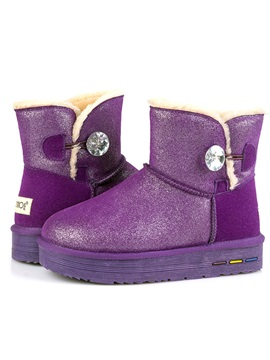 Sequins Crystal Slip On Snow Boots