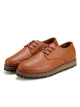 Solid Color Pu Lace Up Mens Causal Shoes