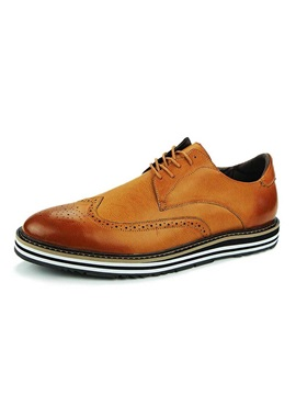 British Round Toe Lace Up Mens Brogue Shoes