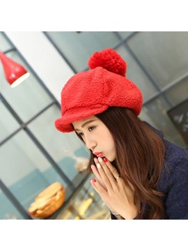 Pure Color With Brim Womens Plush Hat