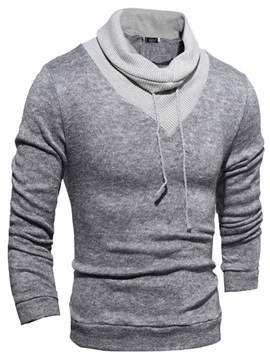 Color Block Heaps Collar Lace Up Mens Pullover Sweater