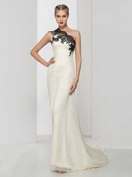 Elegant One Shoulder Appliques A Line Long Evening Dress
