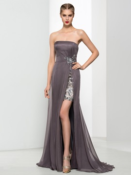 Strapless Sequins Split Front Column Evening Dress