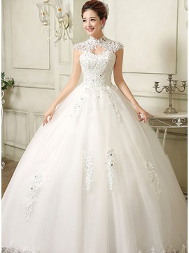 Charming Beaded Lace Open Back Ball Gown Wedding Dress