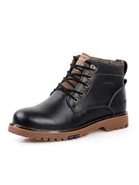 British Pu Round Toe Lace Up Mens Boots