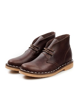Thread Round Toe Lace Up Mens Boots