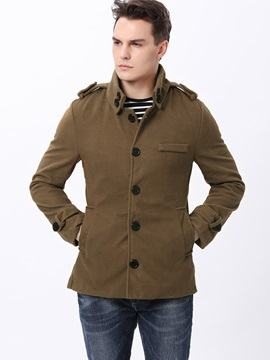 Single Breasted Lapel Solid Color Mens Thicken Coat