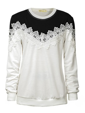 Stylish Lace Decoration Short Hoodie