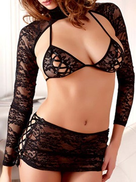 Hot Sexy Black Lace Three Piece Lingerie