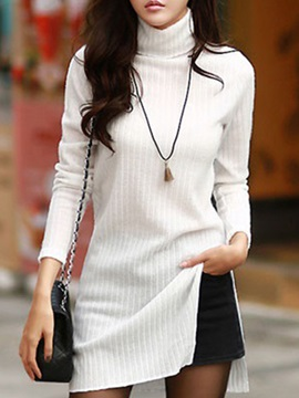 Solid Color Turtleneck Long Sleeve Day Dress