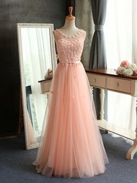 Sheer Scoop Neck Floral Top Pink Bridesmaid Dress Long