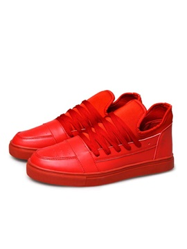 Solid Color Lace Up Skater Shoes
