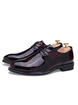 British Color Block Lace Up Mens Dress Shoes